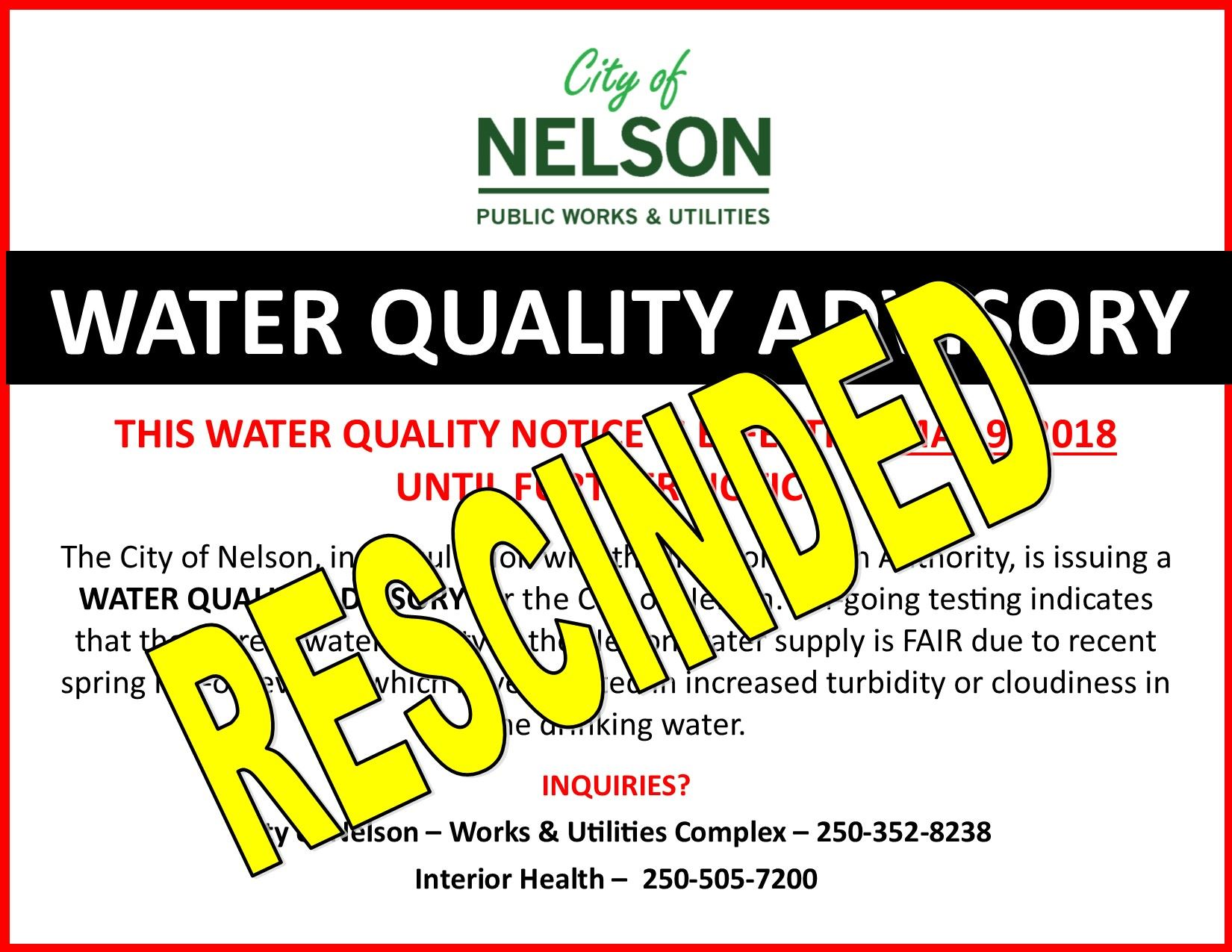 Water Quality Advisory May 8 2018 RESCINDED