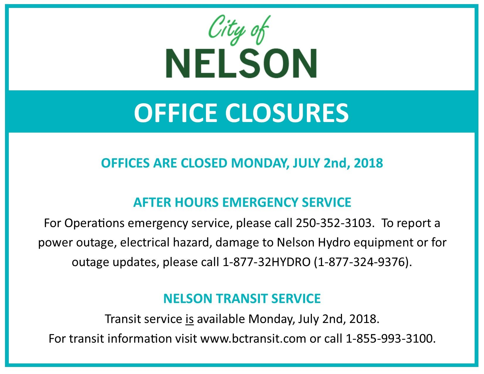 July 1 Office Closures 2018